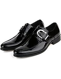 GRRONG Zapatos De Cuero De Los Hombres Zapatos De Vestir De Negocios Banquete Acentuadas Negro