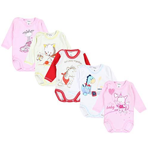 TupTam Unisex Baby Langarm-Body mit Aufdruck 5er Set, Farbe: Mädchen, Größe: 74