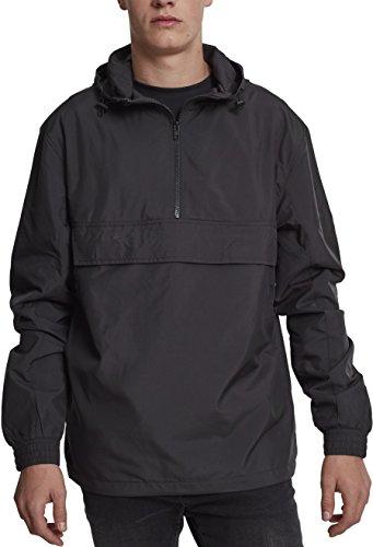 Urban Classics Herren Windbreaker Basic Pull-Over Jacket, leichte Streetwear Schlupfjacke, Überziehjacke für Frühjahr und Herbst - Farbe black, Größe XL