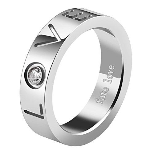 PAMTIER Edelstahl CZ LOVE Verlobung Versprechen Ring für Paare Hochzeit Band Männer Silber Größe 60 (19.1) (Männer Diamant-hochzeit Band-größe 13)