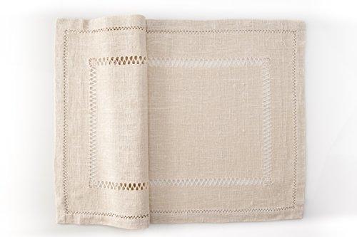 Coppia di centro tavola ricamati a mano aleandro made in italy 20x30cm puro lino antico