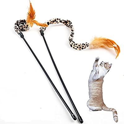 Cat Toy,PETBABA Funny Flying Feather Cat Stick Charmer Wand - For Your Kitty Great Entertainment And Interactive-Exercise, Drives Cats Wild!
