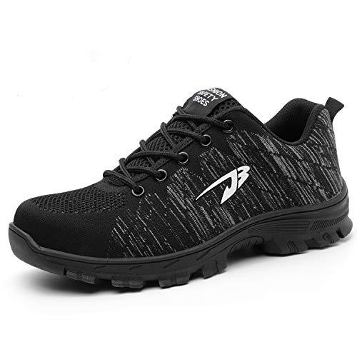 SUADEEX Damen Herren Sicherheitsschuhe Sportlich Trekking Wanderhalbschuhe Stahlkappe Arbeitsschuhe Hiking Schuhe Traillaufschuhe, 05-schwarz, 38 EU