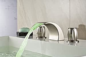 ROZIN Tub Faucet With LED Light Shower Faucet Nickle Brushed Cylindrical Handles Mixer Tap Deck mounted by ROZINSANITARY