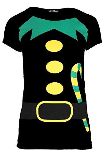 Damen Weihnachten T-shirt Damen Weihnachten Elfe Kostüm Candy Klebe Aufdruck Jersey Oberteil - Schwarz, 40/42 (Weihnachten Elfen Kostüm)
