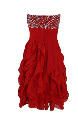 Sunvary Fashion Cocktail Party Dresses Homecoming Sweetheart Chiffon vestito Red