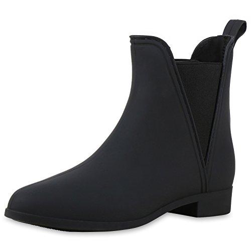 Gummistiefel Damen Schuhe Stiefeletten Chelsea Boots Regen Schwarz Matt 38 (Kurz-stiefel)