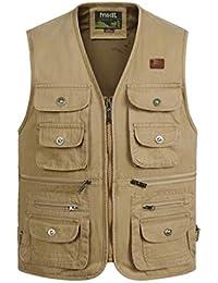 QQCRvest Vest Chaleco de los hombres de algodón XL multi-bolsillo de fotografía de caza
