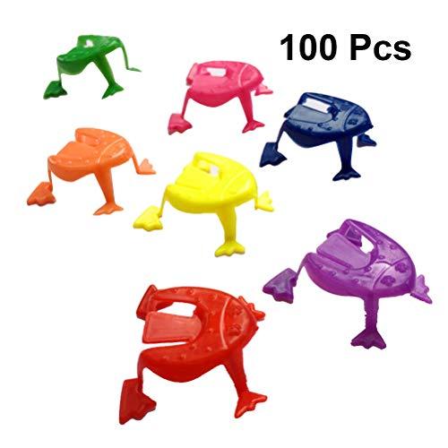 Toyvian Springender Frosch Kinder Spring Frosch Kinder Party Spielzeug Versorgungen 100 Stücke (Gelegentliche Farbe) (Der Springende Frosch)