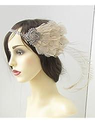 Creme Silber Pfauenfeder Stirnband 1920er Great Gatsby Starcrossed Beauty 161Stil der Zwanzigerjahre