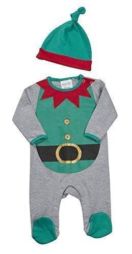 Baby Neuheit Xmas Elfe Rentier Santa Schlafanzug Strampler & Hut größen von Neugeborene bis 9 Monate - Grau Elfe, (Und Santa Kostüme Elfen)