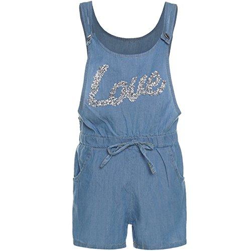 Mädchen Kinder Freizeit Jumpsuit Jeansoptik Stoff Overall Einteiler Onesie 21280, Farbe:Blau;Größe:164