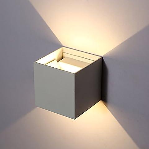 Topmo 7W LED Wandlampe mit einstellbar Abstrahlwinkel Wasserdichte IP65 Wandbeleuchtung 2700K Warmweiß Quadrat LED weiße Außenwandleuchten 500LM