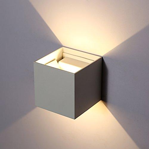 Topmo 12W LED Wandlampe mit einstellbar Abstrahlwinkel Wasserdichte IP65 Wandbeleuchtung 3000K Warmweiß Quadrat LED Außenwandleuchten (weiß) (weiß)