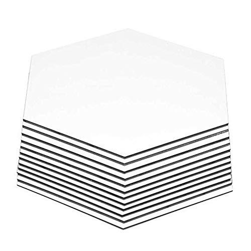 NiceButy Hexagon Spiegelwandaufkleber, 12 PCS 8cm abnehmbare Acryl-Spiegel Wandaufkleberausgang Wohnzimmer Schlafzimmerdekoration (8 cm, Silber) DIY Tools - Hexagon Spiegel