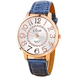 Batti ZA-23 Unisex Big Numerals Rhinestone Faux Leather Wrist Watch Dark Blue