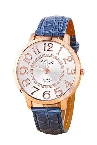 Montre-bracelet - Batti ZA-23 Unisexe montre-bracelet de cadran de gros chiffres strass avec bande en simili cuir bleu fonce