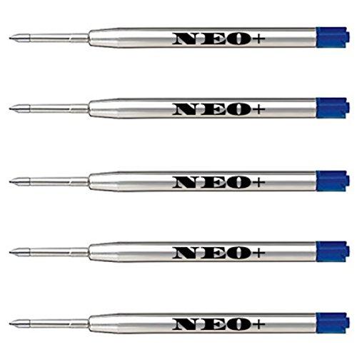 Lot de 5 recharges de stylos à bille compatibles avec Parker Bleu