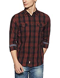 Jack & Jones Men's Checkered Slim Fit Cotton Casual Shirt