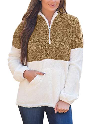 Yskkt Sherpa-Pullover für Damen, mit halbem Reißverschluss, Fleece-Jacke, mit Taschen - Braun - XX-Large -