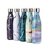 Vlunt Edelstahl Sport trinkflaschen, Marmor-Muster Thermosflasche, 500ml Wasserflaschen für Fitness, Radsport, Im Freien und Camping - Violett