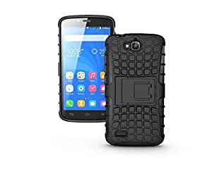 Wellmart Hybrid Defender Military Grade Armor Kick Stand Back Case Cover for Huawei Honor Holly (Black)