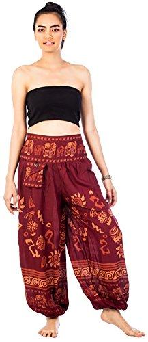 Lofbaz Mujer Pantalones Rayón Elefante Patrón One Size Borgoña