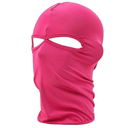 FENTI Multifunktionen Gesichtsmaske aus Lycra 2 Loecher Sport Balaclava Einfarbige Maske Warm Fahrrad Ski Snowboard Rosa