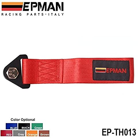 SkyRam(TM) EPMAN -RED HIGH STRENGTH RACING TOW STRAP SET FOR FRONT/REAR BUMPER HOOK TRUCK/SUV