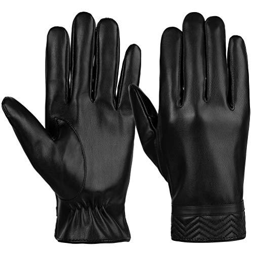 Vbiger PU Lederhandschuhe Winter Handschuhe Flexibel Touchscreen Handschuhe Warme Kalt Wetter Handschuhe Lässige Outdoor Sports Handschuhe für Herren, Schwarz, M