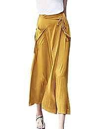Sourcingmap Women Elastic Waist Self Tie Strap Pockets Chiffon Skirt