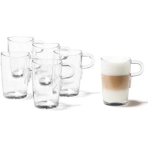 Leonardo Loop - Tazas de café para café con leche, 6 unidades, transparente