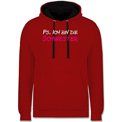 Typisch Frauen - Geschwister Geschenke Ps ich bin die Schwester - Kontrast Hoodie Rot/Schwarz