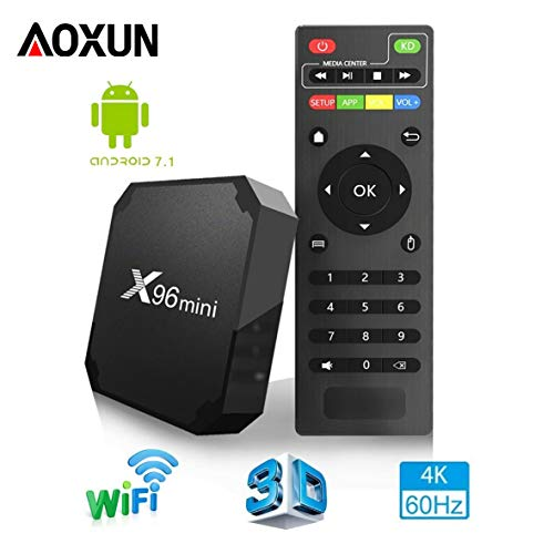 [2018 ULTIMA GENERAZIONE] TV BOX ANDROID 7.1【RAM 2G+16G ROM】- AOXUN X96MINI SMART TV BOX AMLOGIC S905W QUAD-CORE, VIDEO 4K UHD H.265, 2 PORTE USB, HDMI, WIFI WEB TV BOX
