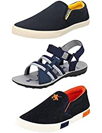Chevit Men's Combo Pack of 3 Loafers With Floater Sandals (Casual Shoes)