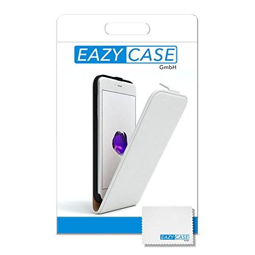 iPhone 8+ Hülle / iPhone 7+ Hülle - EAZY CASE Premium Flip Case Klapphülle für Apple iPhone 7 Plus & iPhone 8 Plus - Edle Schutzhülle aus Leder mit Magnetverschluss in Lila Weiß