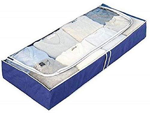 Wenko Unterbettkommode Air, Unterbett-Aufbewahrungstasche mit Sichtfenster, 105 x 15 x 45 cm, Blau