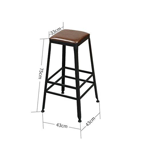 GJM Shop tabouret pivotant à 360 ° réglable en hau Rétro Fer Bois Massif / Similicuir + Coussins Éponge Tabouret De Bar Tabouret Haut Avec Repose-pieds Balcon Bar Ménage Chaise De Café --- Sponge + Leatherette / surface de chaise en bo ( Couleur : 2 )