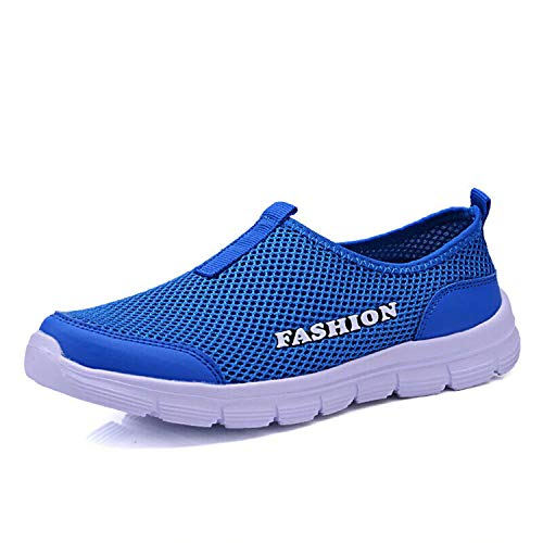 Loafers Slip-on Flats Summer Breathable Shoes Men Casual Large Size Low top Blue 11