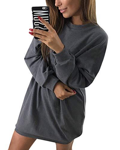 Minetom Damen Langarm Sweatshirt Herbst Winter Lange Pullover Einfarbig Pulli Sexy Oversize Tunika Mini Kleid Casual Lose Rundhals Tops Dunkelgrau DE 42