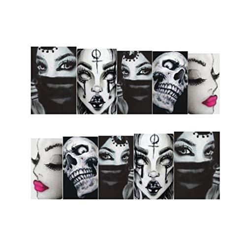 Bomcomi Halloween Nail Sticker Tatoos Schwarz-weißer Schädel Element Halloween-Nagel-Verpackungs-Aufkleber 25 Blatt/Set