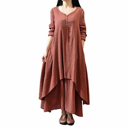 Damen Kleid ,LMMVP Frauen Lose Baumwoll Langarm Leinen Boho Party Langes Maxi Kleid (M, Brown)