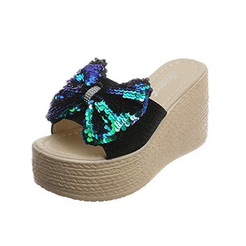 LILIGOD Frauen Dame Summer Wedges Sandale Schuhe Peep Toe Platform Pantoffel Bow Knot Bling Sandalen Hausschuhe Mode Elegant Slip-On Plateauschuhe Outdoor Strandschuhe