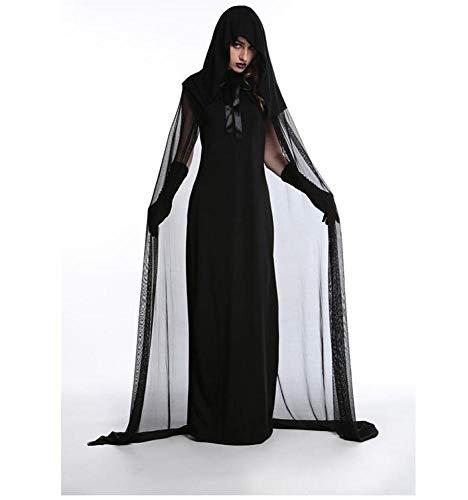 POIUYT Frau Halloween Cosplay Schwarz Teufel Kostüm Weihnachtskostüm Hexe Kostüm Vampir Dress Up Uniform Party Erwachsene Fancy Dress Party Kostüm,Black-XXL