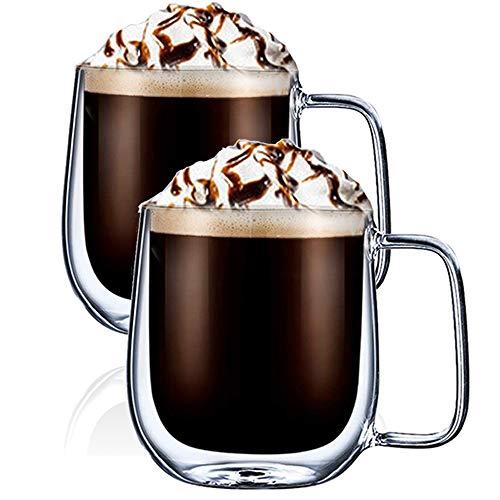 GooDoi Doppelwandige Kaffeetassen Gläser mit Henkel - Isolierte transparente Thermo Latte Macchiato Milchsaft-Glasbecher - 300 ml, 2 Sätze