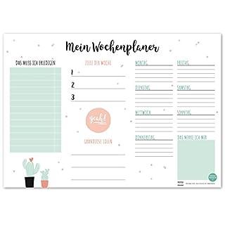 TYSK Design Schreibtischunterlage Kaktus (Design wählbar) Tischunterlage aus Papier zum Abreißen DIN A3 to Do Liste Notizblock Wochenplaner