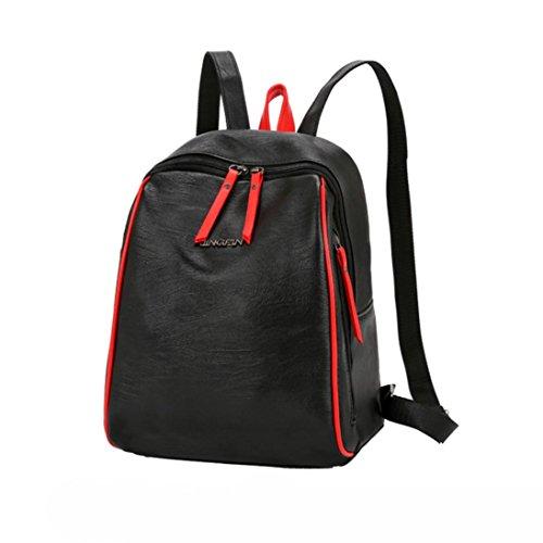Manadlian Damen Mode Patchwork Reißverschluss Patchwork Rucksack Schulter Taschen Rucksack Reise Rucksack (Schwarz) (Patchwork Handtasche Hobo)