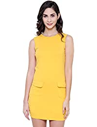 COA Womens Organic Cotton Dreamer Solid Yellow Bodyfit| Bodycon Sleeveless Dress for Women with Round Crew Neckline