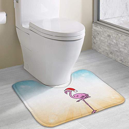 Hoklcvd Flamingos U-förmige Toilette Bodenteppich Rutschfeste Toilette Teppiche Badezimmer Teppich