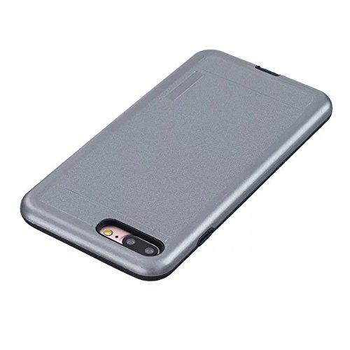 2 en 1 Nouveau Armor Solid Color Dot Pattern Frosted Style hybride double couche d'armure Defender PC Hard Back Cases Housse étui pour Apple IPhone 7 Plus 5.5 pouces ( Color : Black , Size : IPhone 7  Gray